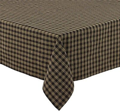 Sturbridge Table Cloth Black Tan Plaid Country Farmhouse Kitchen Dining 54x54
