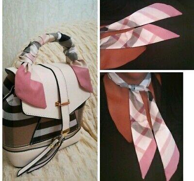 Classic Plaid Silk Twilly Bandeau Scarf Tie Wrap Checks Plaids Print -