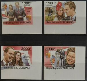 Royal Wedding Prince William Kate set 4 val Burundi Sc.1001-04 #BUR11310a IMPERF - Olsztyn, Polska - Royal Wedding Prince William Kate set 4 val Burundi Sc.1001-04 #BUR11310a IMPERF - Olsztyn, Polska