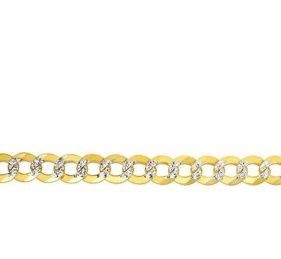 """14KT Solid Yellow+White Gold PAVE Curb Link  24""""  9.7 MM 52 GRMS Chain/Necklace"""