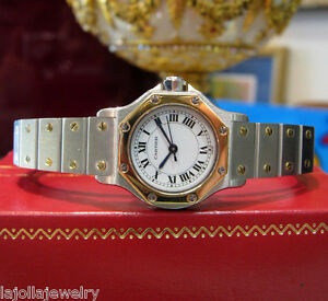 LADIES-CARTIER-SANTOS-TWO-TONE-18K-YELLOW-GOLD-AND-STAINLESS-STEEL-WATCH-AUTO