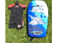 Child shorty wetsuit & boogie board both for £15