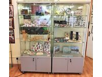 Glass display cabinet with storage- double doors, 3 lights, locking fixture