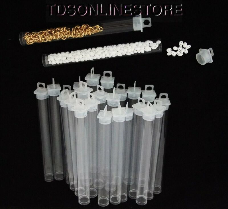 """Package of 100 Round Clear Plastic Storage Tubes 5"""" Tall"""