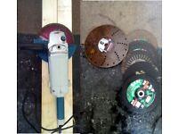 "Professional angle grinder 9"" + new discs steel/wood/brick/ various"
