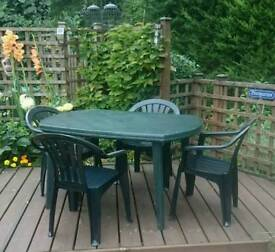 Patio Set - Green Plastic Dining Table and Four Chairs