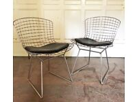 2 X ORIGINAL HARRY BERTOIA WIRE DINING CHAIRS + PADS, MID CENTURY VINTAGE 1960S