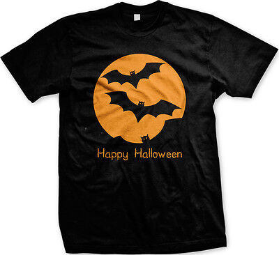 Happy Halloween- Flying Bats- Haunted Trick or Treat  Mens T-shirt
