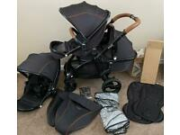 Tan/ Black Egg Pram with MATCHING Tandem Seat & Carry cot (Twin Double Egg Pushchair) Espresso