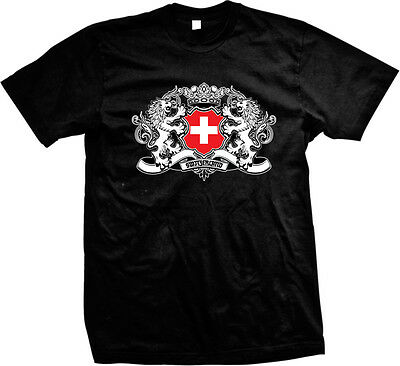 Country Flags T-shirt - Switzerland Country Flag Crest - Swiss Nationality Pride  Mens T-shirt