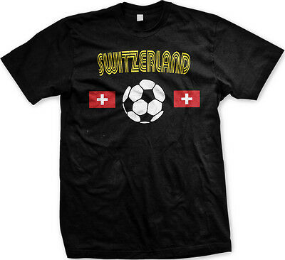 Switzerland Soccer Ball Flag - Swiss Pride Nationality Mens - Swiss Flag T-shirt