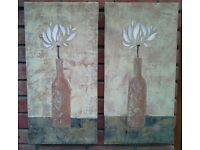 2 individual, same subject canvases of flowers in bottle shaped vase.