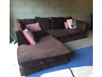 Can Deliver- Corner L-shape Sofa in Brown