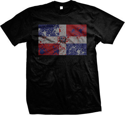 Country Flags T-shirt - Distressed Faded Dominican Republic Country Flag - DR  Mens T-shirt