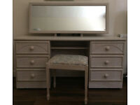 dressing table with mirror, stool and nightstand