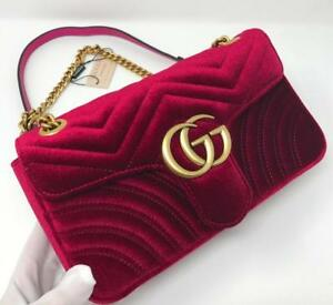 Gucci Marmont Red Suede Leather Bag ( More Colors Styles Available)
