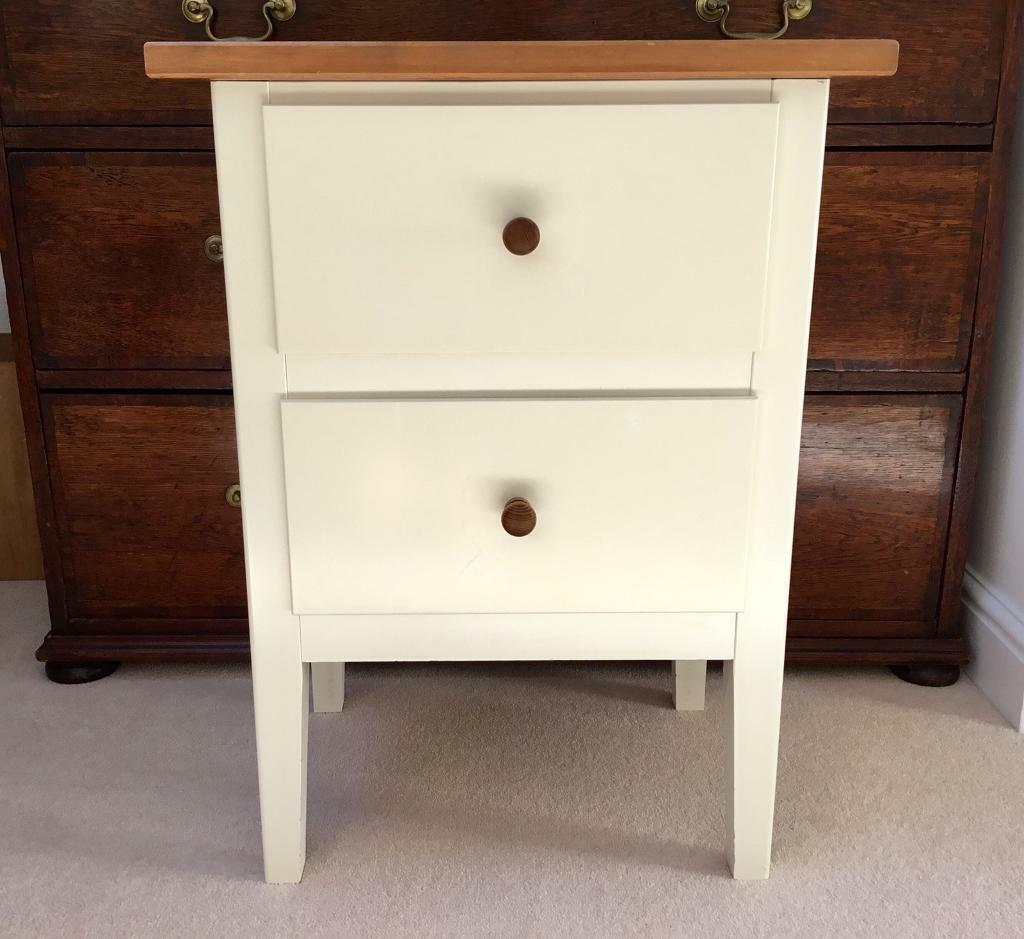 Ikea Bedside Table White Ivory Colour 2 Drawers Wooden Top S