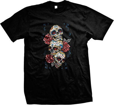Sugar Skulls and Roses - Day of the Dead  Mens (Day Of The Dead Skull And Roses)