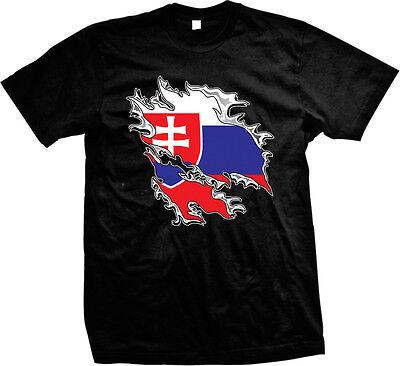 Shredded Rip Through Slovakia Flag - Slovakian Pride Mens - Slovakia Flag T-shirt