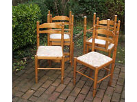Set of Six Solid Pine - 1970's - 1980's Retro Dining Chairs