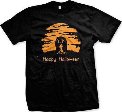 Happy Halloween RIP- Gravestone Zombie Arm Graveyard Mens T-shirt