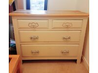 Solid wood shabby chic chest of drawers