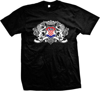 Country Pride Flag T-shirt (Croatian Country Flag Crest - Croatia Pride Hrvatska Mens)