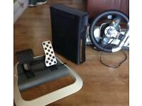 Xbox 360 with steering wheel , sensor and 1 controller