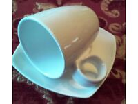 A set of 20 White Coffee Cups with Saucers