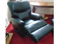 Quality black leather manual recliner chair
