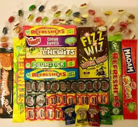 Retro sweets, sweet,sour, wrapped, tangy, American & British sweets mix