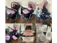 Pink Wayfarer Pioneer Silver Cross travel system pram car seat carrycot and accessories