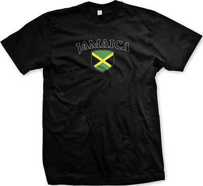 Jamaica Flag Crest Jamaican Irie Mon National Country Pride Mens T-shirt