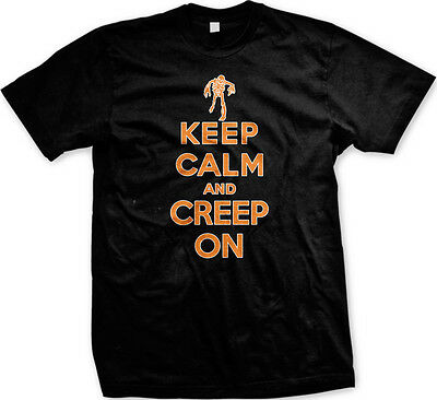 Keep Calm and Creep On- Happy Halloween Scary Zombie Mens T-shirt