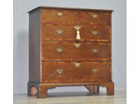 Attractive Large Antique Georgian Oak & Walnut Crossbanded Chest Of 5 Drawers