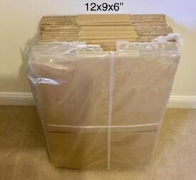 37 cardboard boxes