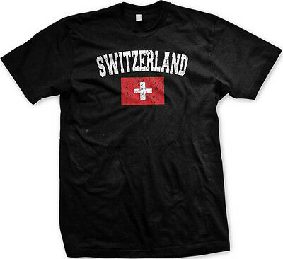 Switzerland Country Flag Swiss Suisse Pride Football Soccer Mens - Swiss Flag T-shirt