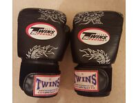 Twins Black-Silver Dragon Boxing Gloves - Nearly New 16 oz