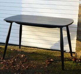 ERCOL CHILTERN CONTRACT RETRO TABLE SOLID OAK BLACK TO SET UP TO 6