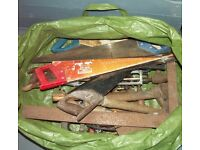 Wooden Tool Chest of assorted tools and collection of saws