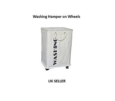 Deluxe Laundry Washing Hamper Basket on Wheels Clothes Storage Linen Bag