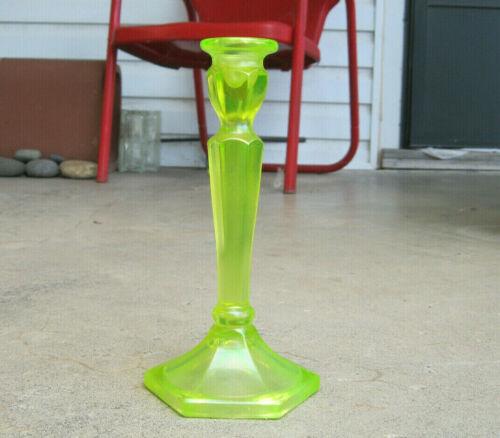 "Vintage Northwood Fenton Vaseline Yellow Iridescent 8 5/8"" Glass Candlestick"