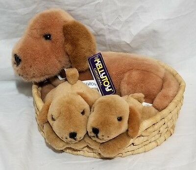 KELLYTOY Brown PUPPY Dog in a Basket Plush Stuffed Animal Toy