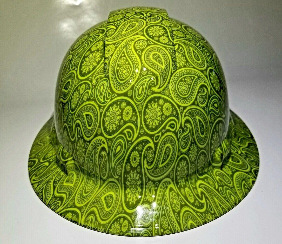 NEW FULL BRIM Hard Hat custom hydro dipped GREEN APPLE BRAD PAISLEYS NEW