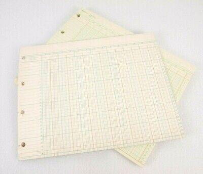 Vtg 1920s account column ledger paper Art Deco 50 sheets loose leaf paper binder
