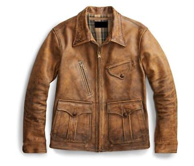 1920s Fashion Men (Men's 1920's Newboy Vintage Style Distressed Real Leather Casual Jacket)