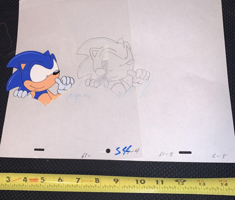 Adventures of Sonic the Hedgehog Hand Painted & Pencil Sketch Hang Loos Cel  DiC