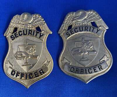 Set Of 2 Gold Colored Badge Security Officer Used But Nice See Pics B7