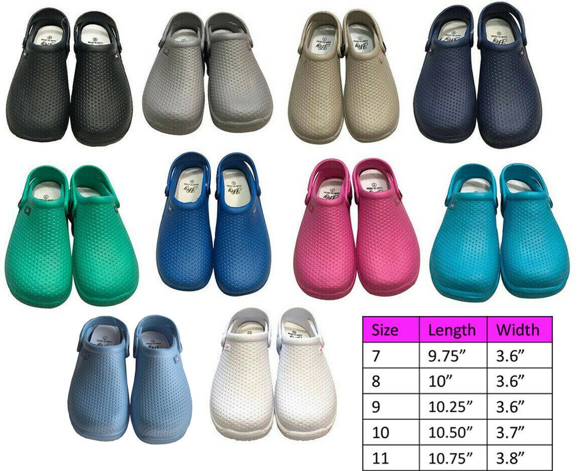 Medical Nursing Womens Ultralite Clogs w/ Heel Strap Non-Sli