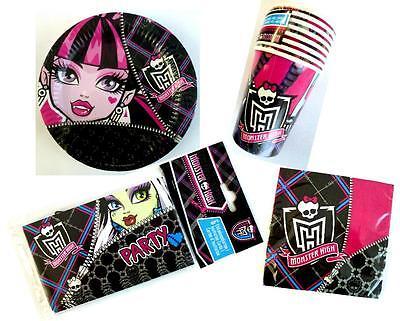 Party Geschirr Monster High Servietten Teller Becher Einladungskarten Geburtstag ()